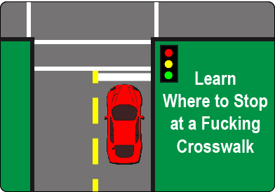Learn where to stop at a crosswalk