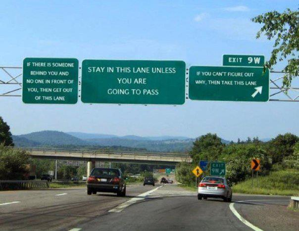 Freeway signs - pass on the left