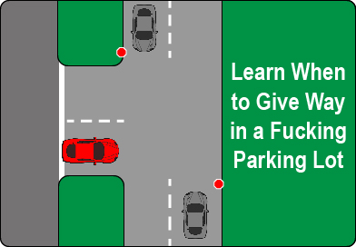 learn to give way in a parking lot