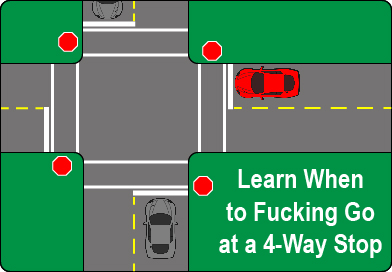 When to go at a four-way stop.